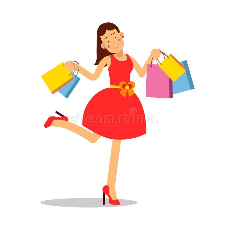 Junge glückliche lächelnde Frau im roten Kleid, das mit Einkaufstaschezeichentrickfilm-figur-Vektor Illustration steht vektor abbildung