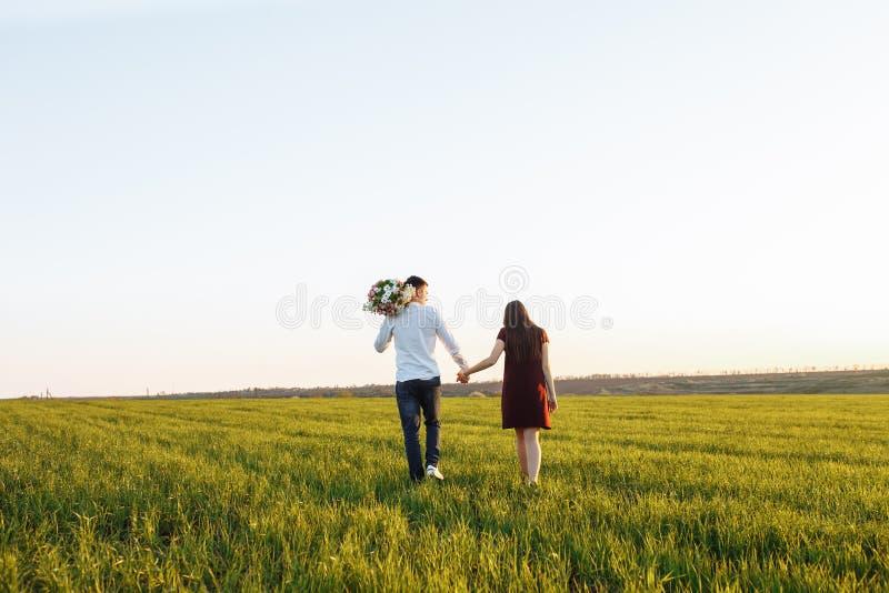 Junge, glückliche, liebevolle Paare, bei dem Sonnenuntergang, stehend auf einem grünen Gebiet, gegen das Himmelhändchenhalten und stockbilder