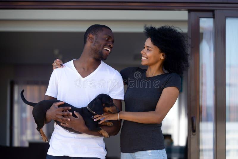 Junge glückliche schwarze Paare, die draußen Spaß mit Haustier habend umfassen stockbild
