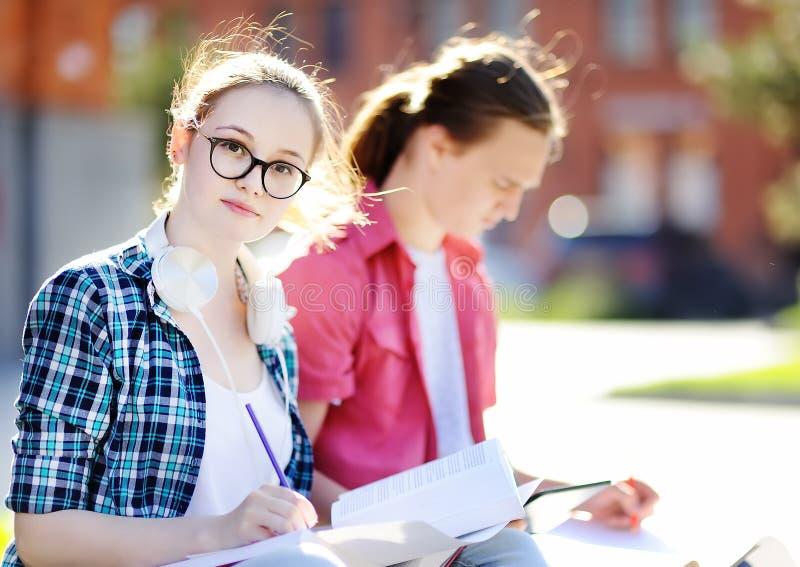 Junge glückliche Studenten mit Büchern und Anmerkungen draußen stockfotografie