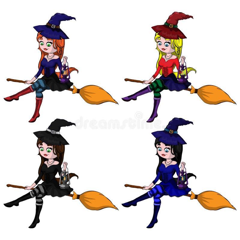 junge glückliche und attraktive Hexen, Vektor Halloween-Sammlung stock abbildung