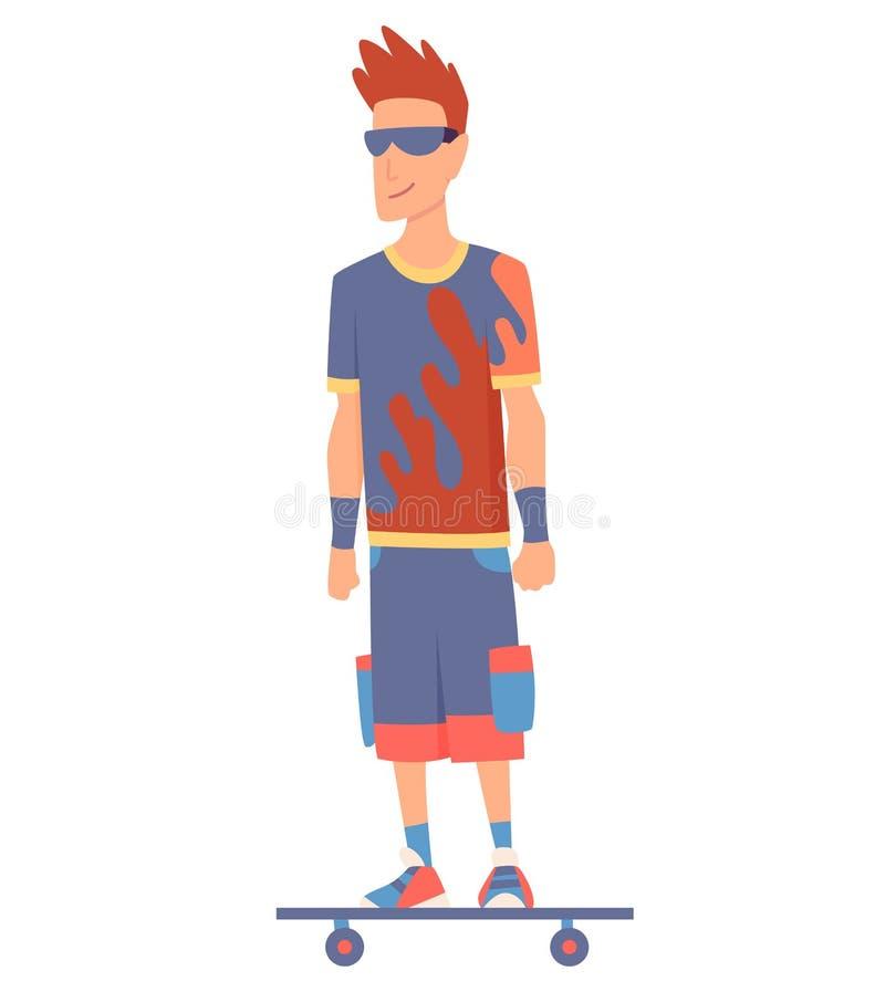 Junge, gut aussehende Mann, die auf einem Skateboard reiten, moderner Outdoor-Transport, stehende Pose Leute, die elektrisch fahr vektor abbildung