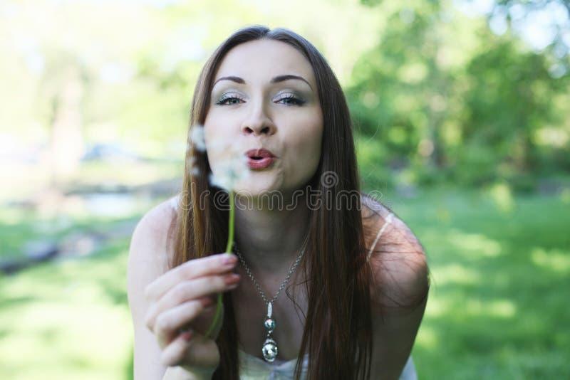 Junge hübsche Frau mit Löwenzahn lizenzfreie stockbilder
