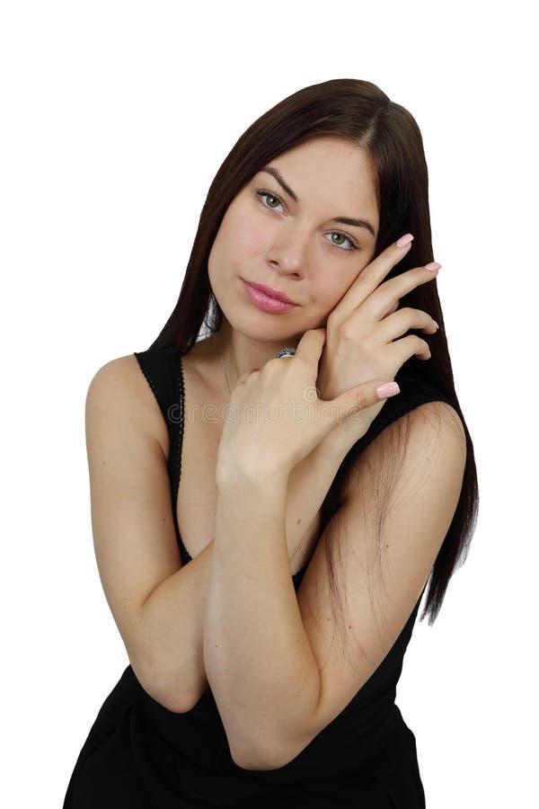 Junge hübsche Frauenaufstellung lizenzfreies stockfoto