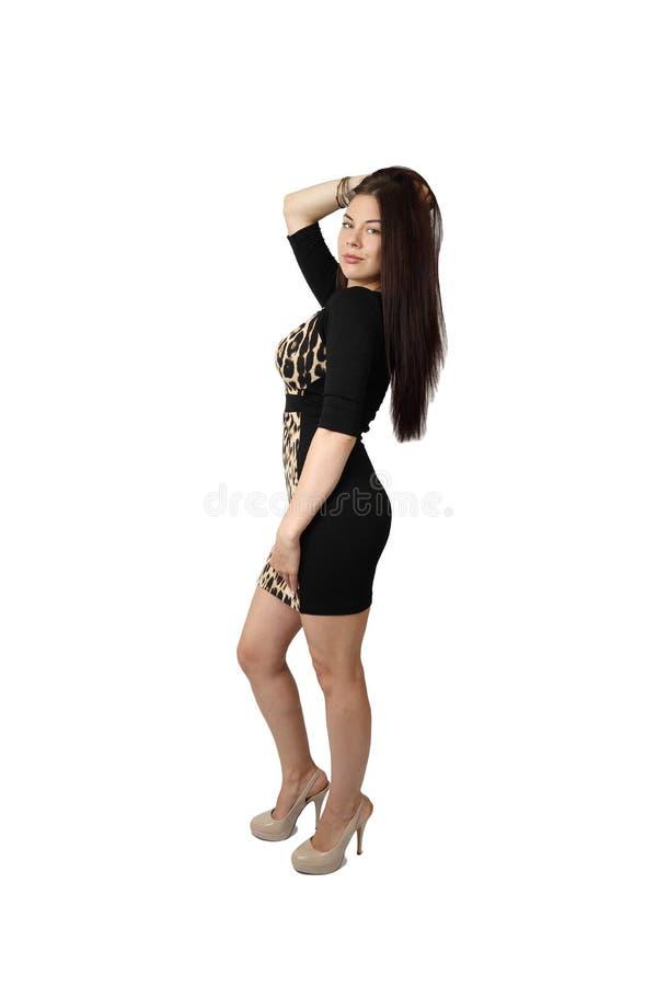 Junge hübsche Frauenaufstellung lizenzfreie stockfotos