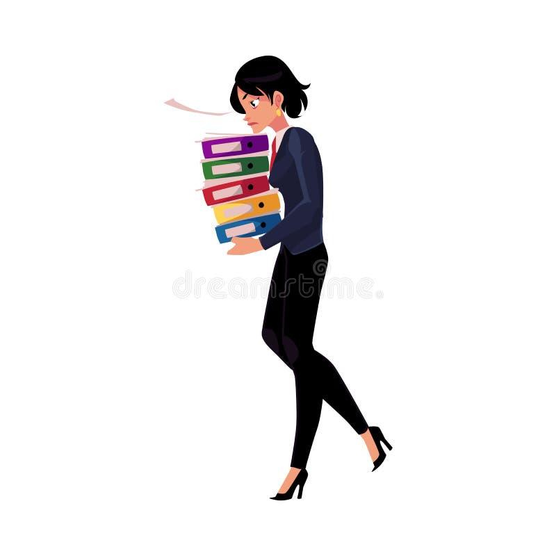 Junge hübsche Geschäftsfrau, Frau, tragender Stapel des Mädchens von den Dokumentenordnern stock abbildung