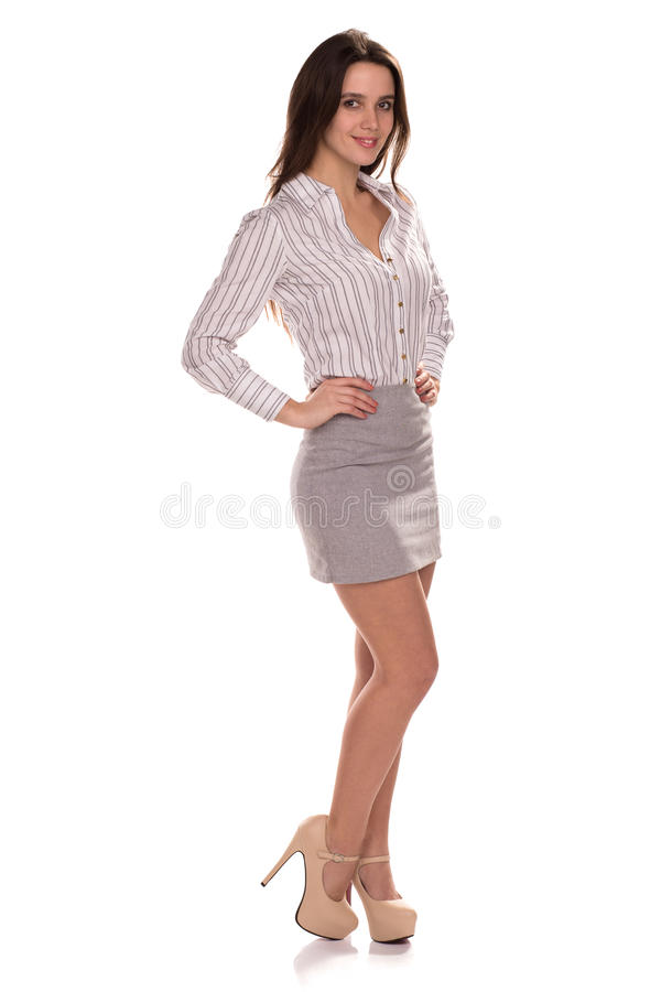 Junge hübsche Geschäftsfrau lokalisiert Volles Höhenporträt stockbilder