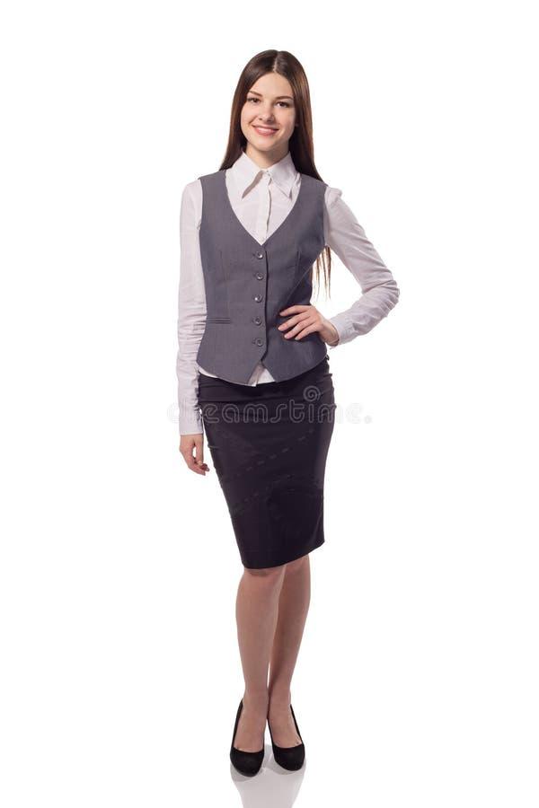 Junge hübsche Geschäftsfrau lokalisiert Volles Höhenporträt stockfotografie
