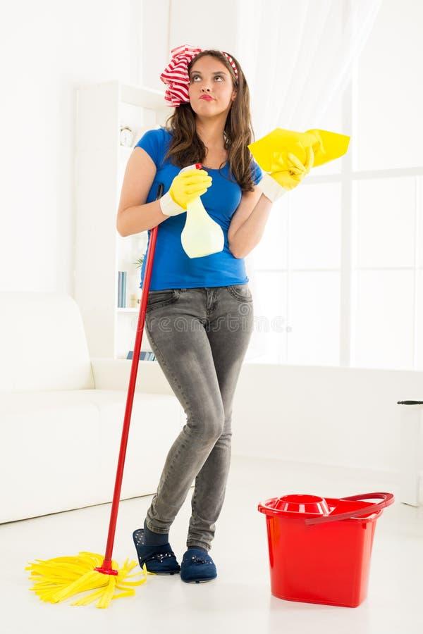 Junge Hausfrau With Cleaning Equipment lizenzfreie stockfotos
