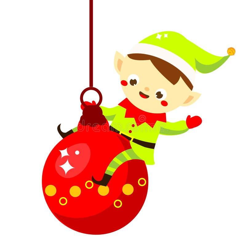 Junge herrliche Frau als Weihnachtself auf goldenem Hintergrund mit leerer Rolle Netter Sankt Helfer, der auf Flitter sitzt Zeich lizenzfreie abbildung