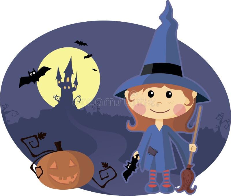 Junge Hexe mit Kürbis nachts Halloween lizenzfreie abbildung