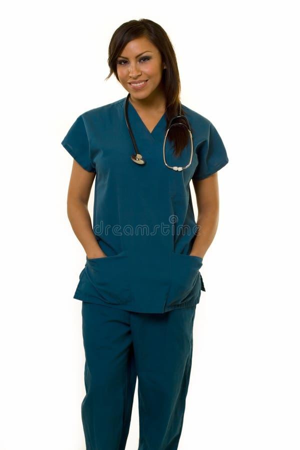 Junge hispanische Krankenschwester lizenzfreies stockfoto