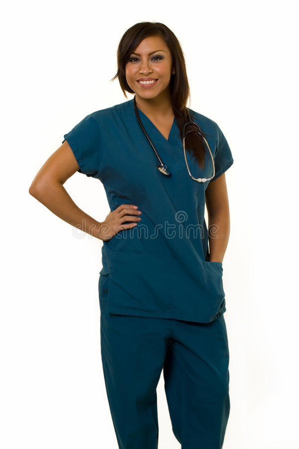 Junge hispanische Krankenschwester lizenzfreie stockfotos