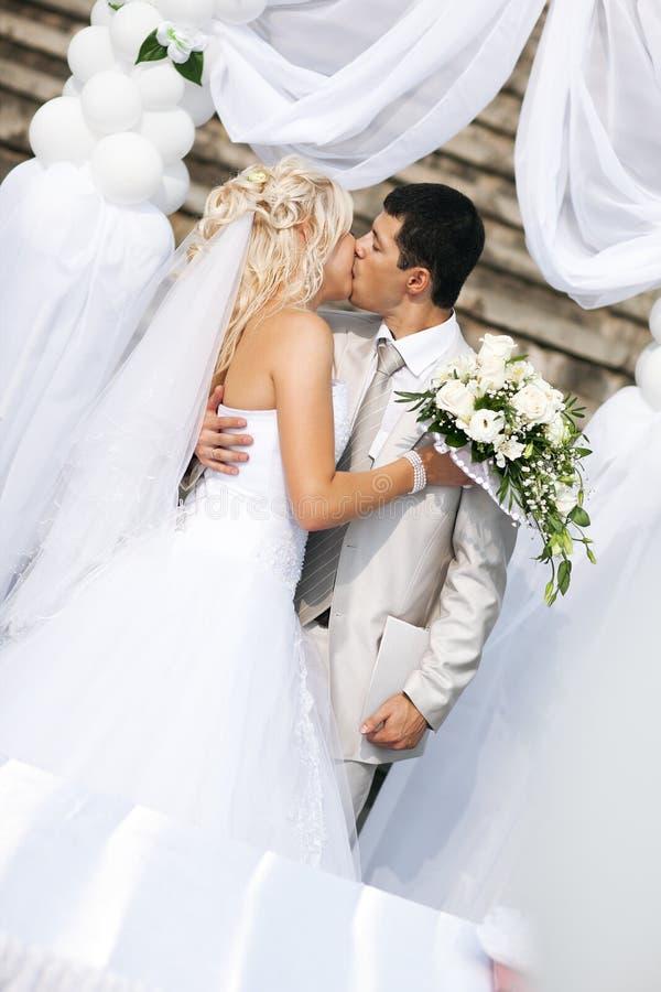 Junge Hochzeitspaare stockbild
