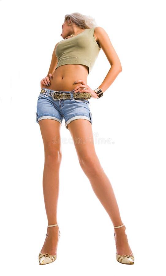 Junge hohe attraktive blonde Frau lizenzfreies stockfoto