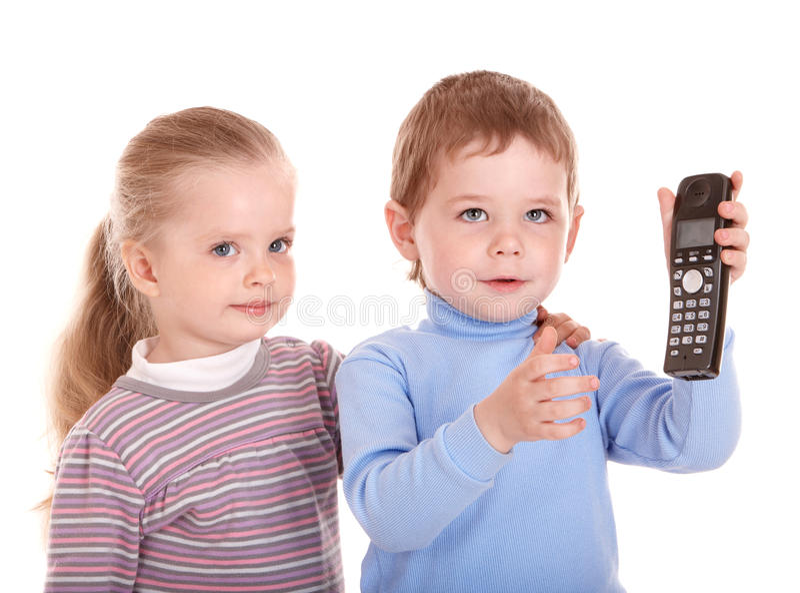 Junge im Blau sprechen am Telefon. lizenzfreies stockfoto