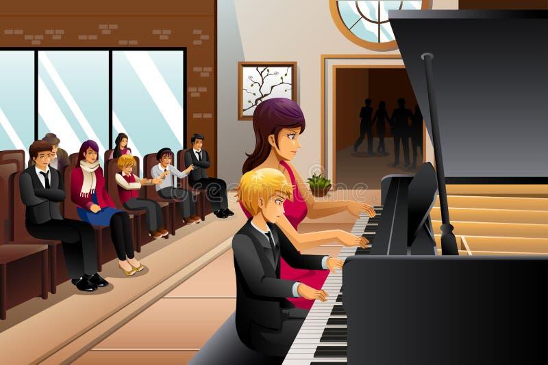 Junge im Klavier-Erwägungsgrund stock abbildung