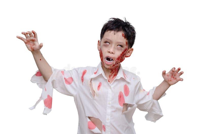 Junge im Zombie bilden und kostümieren lizenzfreies stockbild