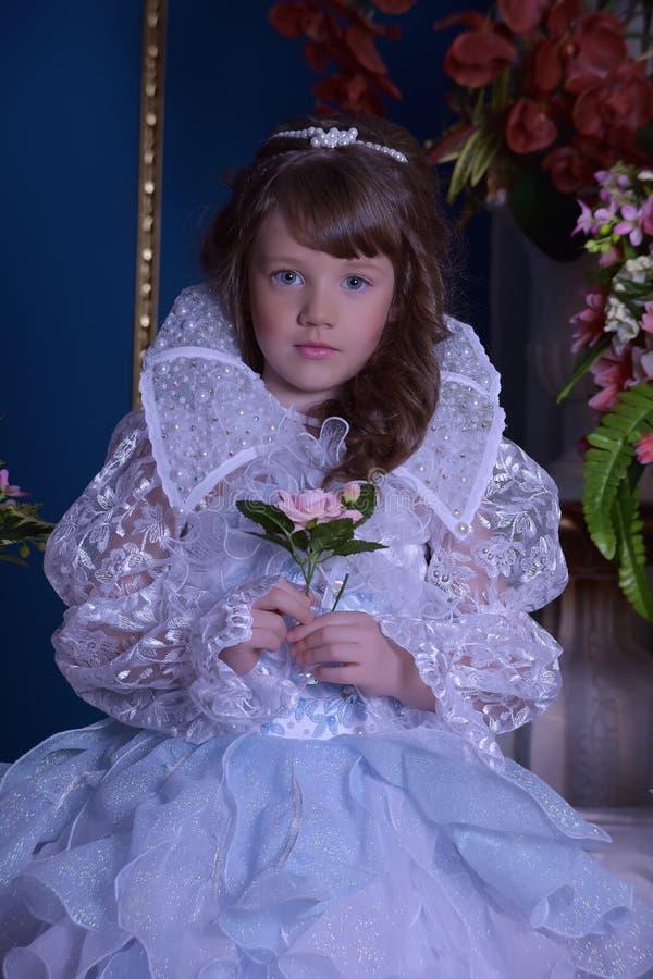 Junge Königin in einem schicken Kleid stockfotografie