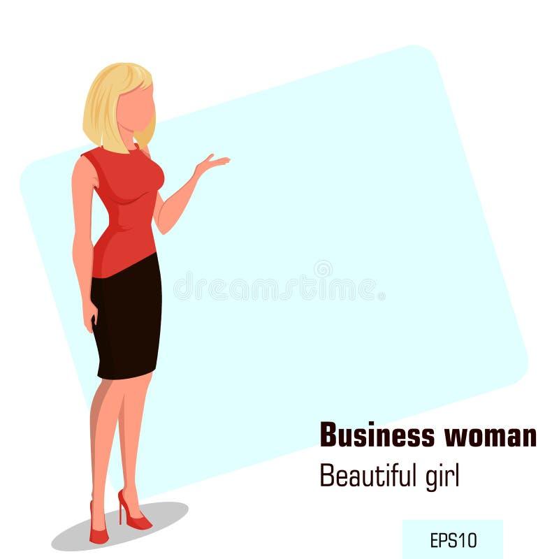Junge Karikaturgeschäftsfrau im Büro kleidet das Zeigen etwas Schönes blondes Mädchen Isometrische Geschäftsfrau lizenzfreie abbildung