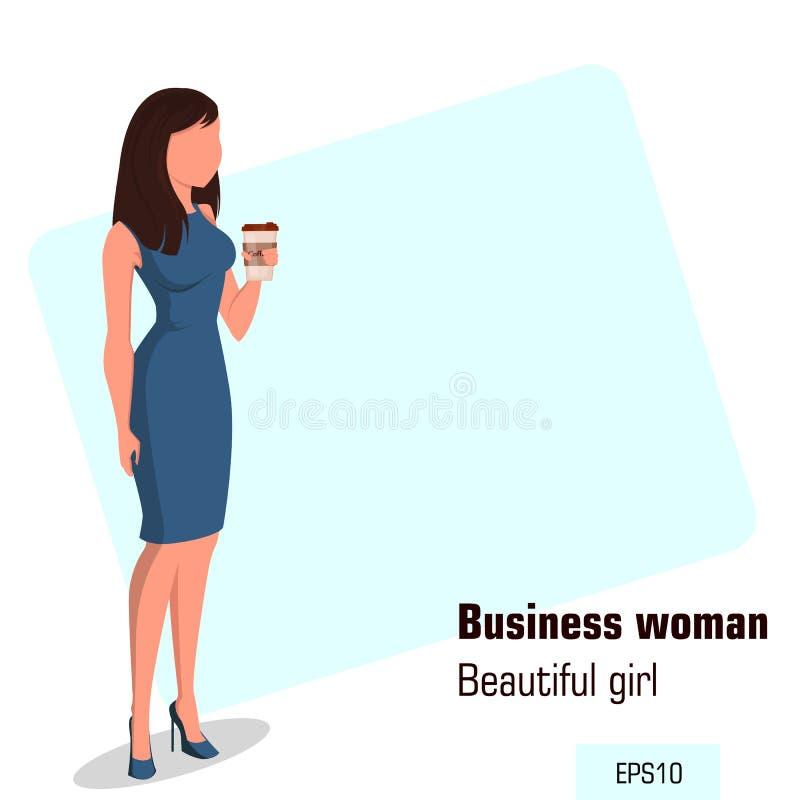 Junge Karikaturgeschäftsfrau mit tragendem Bürokleid des Kaffees Schönes Mädchen, das einen Rest während Kaffeepause hat stock abbildung