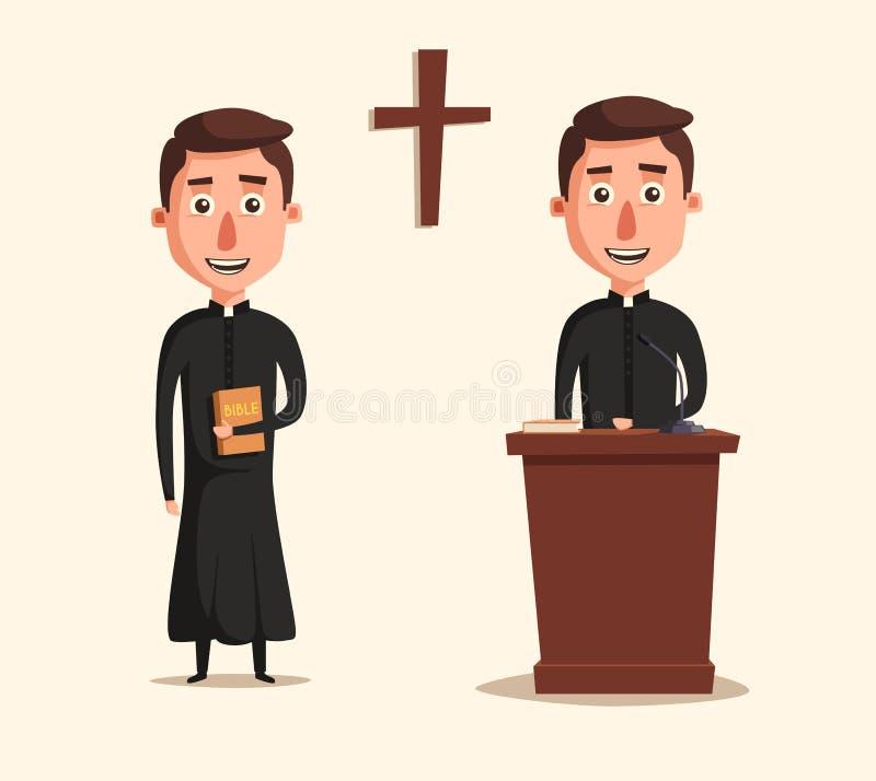Junge katholischer Priester Cartoon-Vektorillustration lizenzfreie abbildung