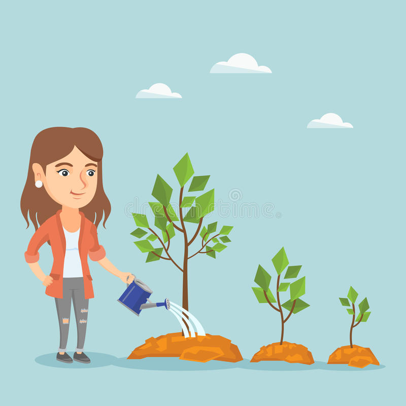 Junge kaukasische Bewässerungsbäume der Geschäftsfrau lizenzfreie abbildung