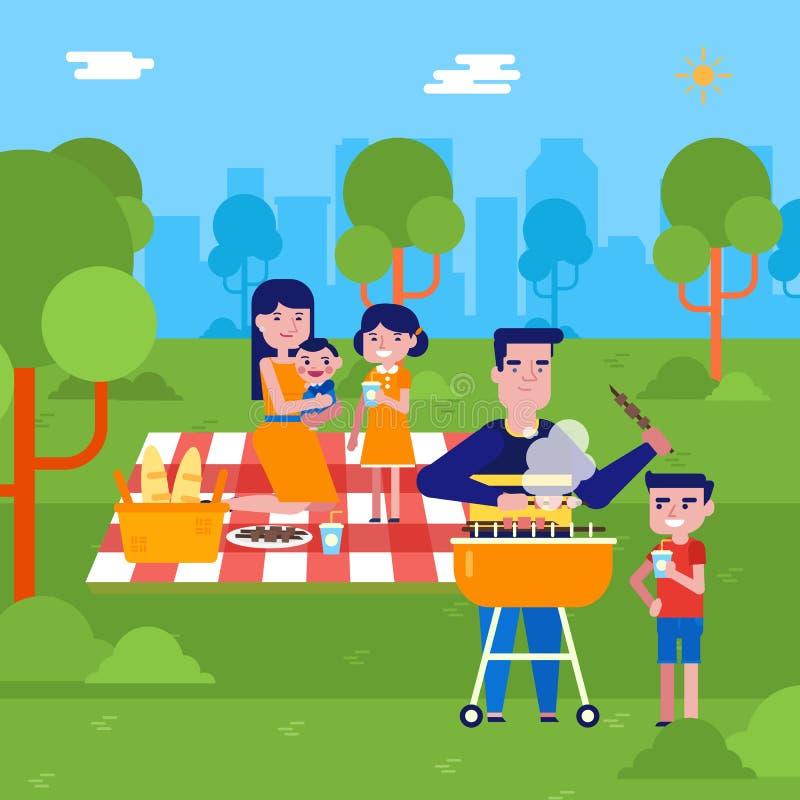 Junge kaukasische Familie, die ein Picknick im Park hat stock abbildung