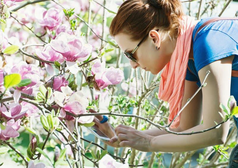 Junge kaukasische Frau macht Foto mit Smartphone von Kirschblüte-Baum lizenzfreie stockfotos
