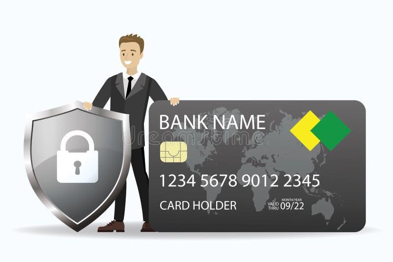 Junge, kaukasische Geschäftsleute, die Kreditkarte und Schild mit Schild besitzen lizenzfreie abbildung
