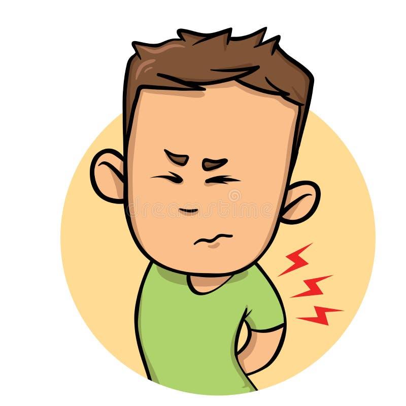 Junge Kerlgefühlsschmerz in seinem zurück Flache Designikone Flache Vektorillustration Getrennt auf weißem Hintergrund lizenzfreie abbildung