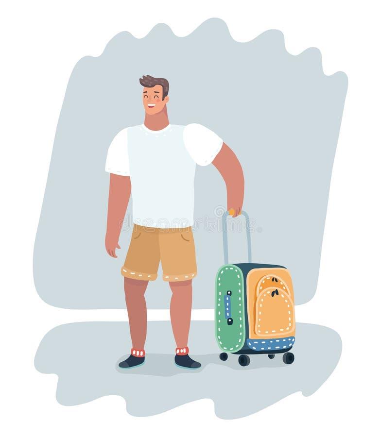 Junge Kerlklage mit Reisetasche auf Rädern vektor abbildung
