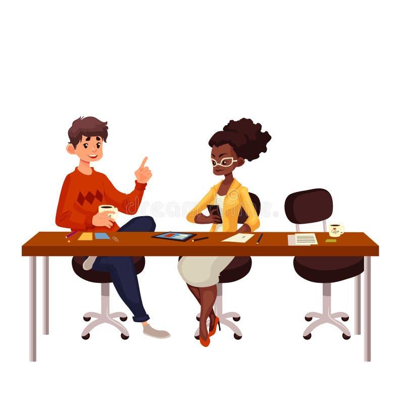 Junge kreative Geschäftsleute, die Ideen im Büro besprechen stock abbildung