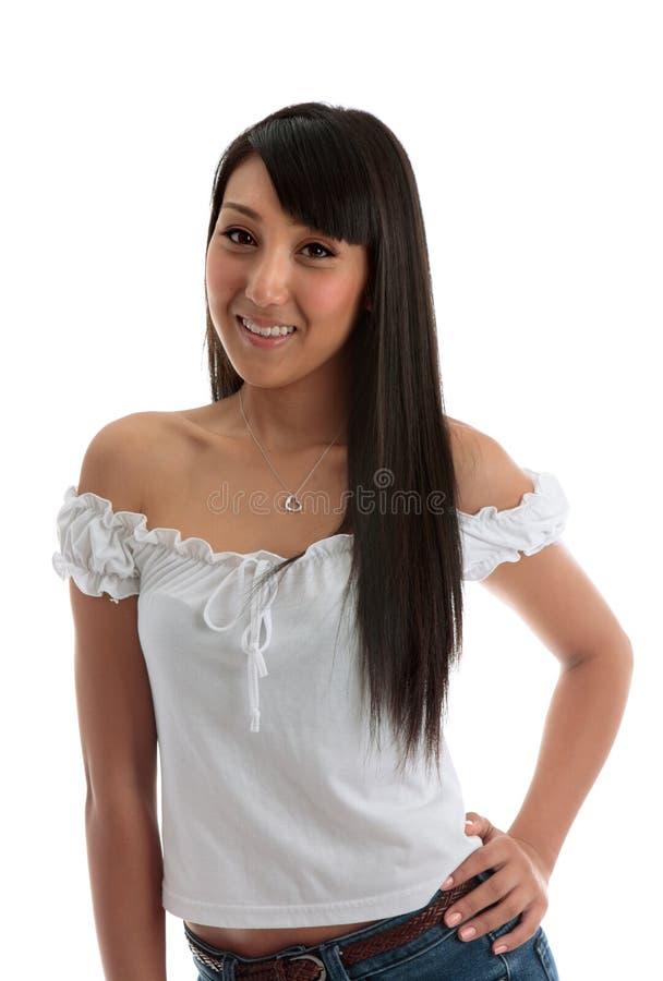 Junge-lächelnde asiatische Schönheit stockfotografie