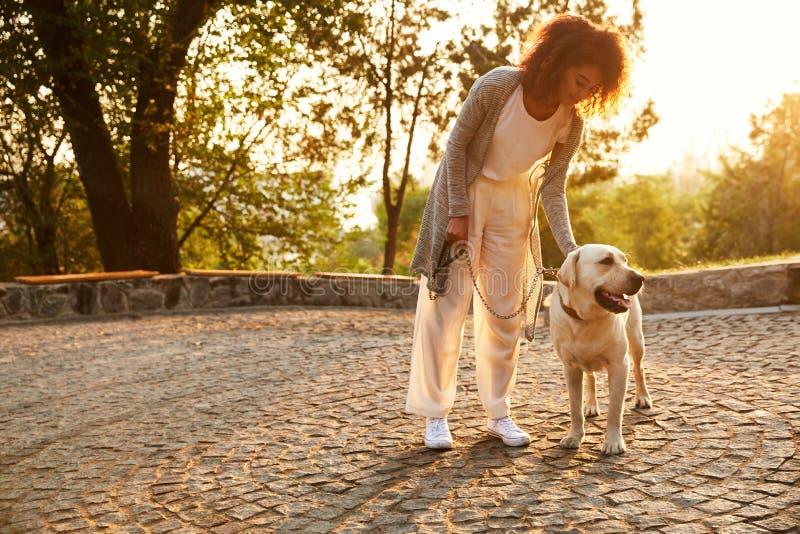 Junge lächelnde Dame in der zufälligen Kleidung, die Hund im Park sitzt und umarmt stockbild