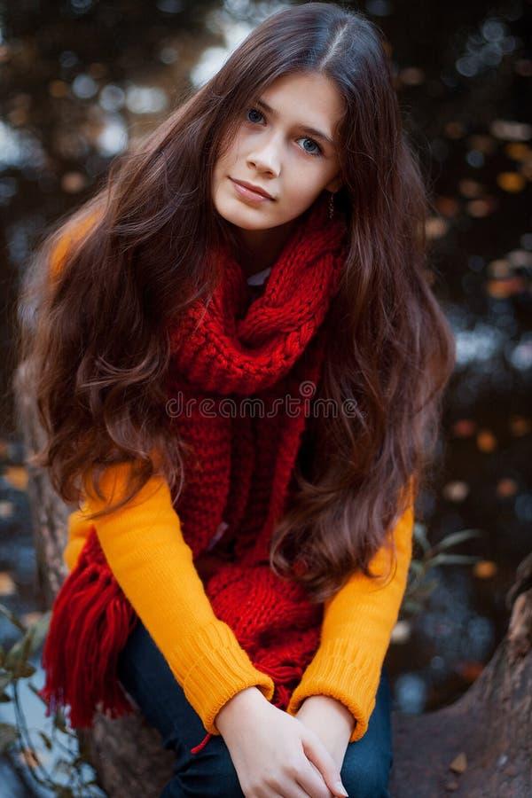Junge lächelnde Frau im Herbstpark lizenzfreie stockfotos