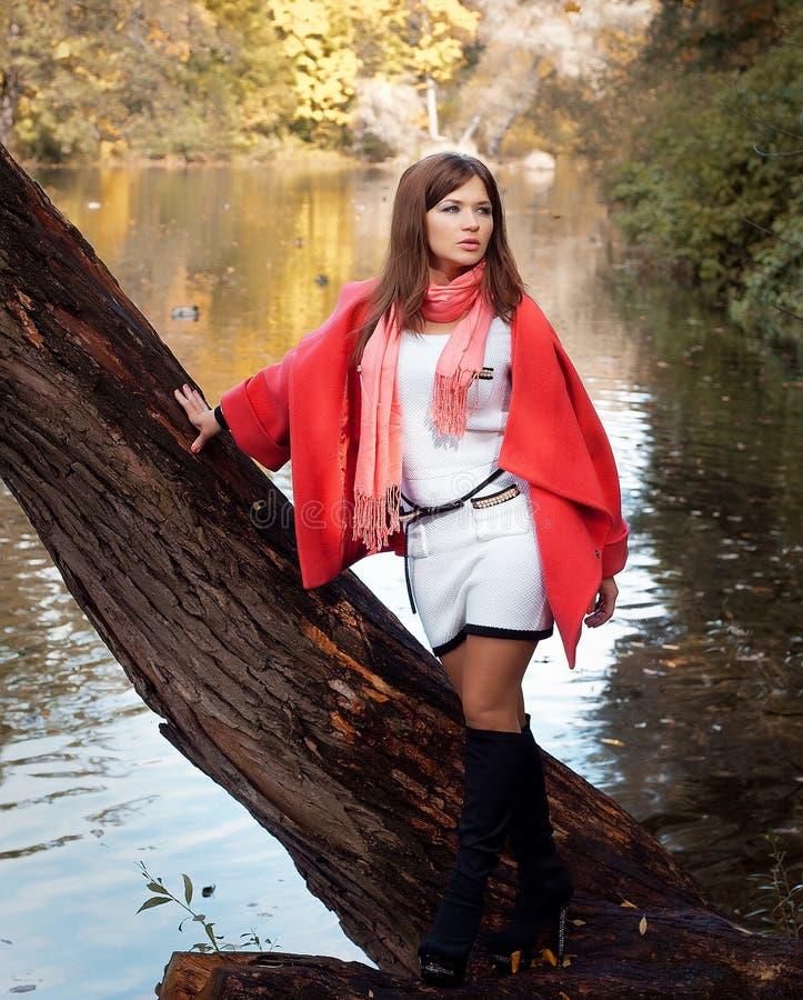 Junge lächelnde Frau im Herbstpark lizenzfreie stockfotografie