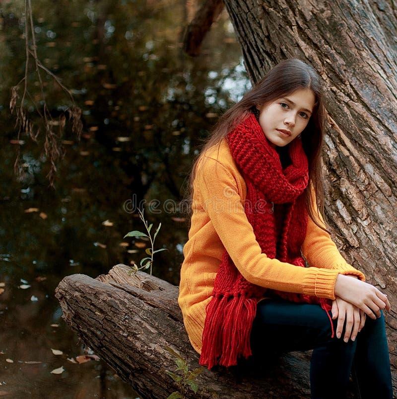 Junge lächelnde Frau im Herbstpark lizenzfreies stockbild