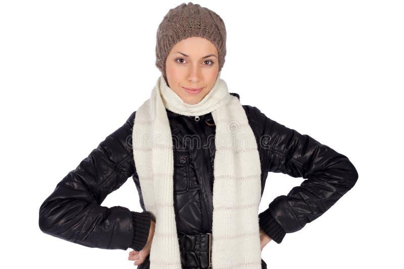 Junge lächelnde Frauen-Winter-Art und Weise stockbild