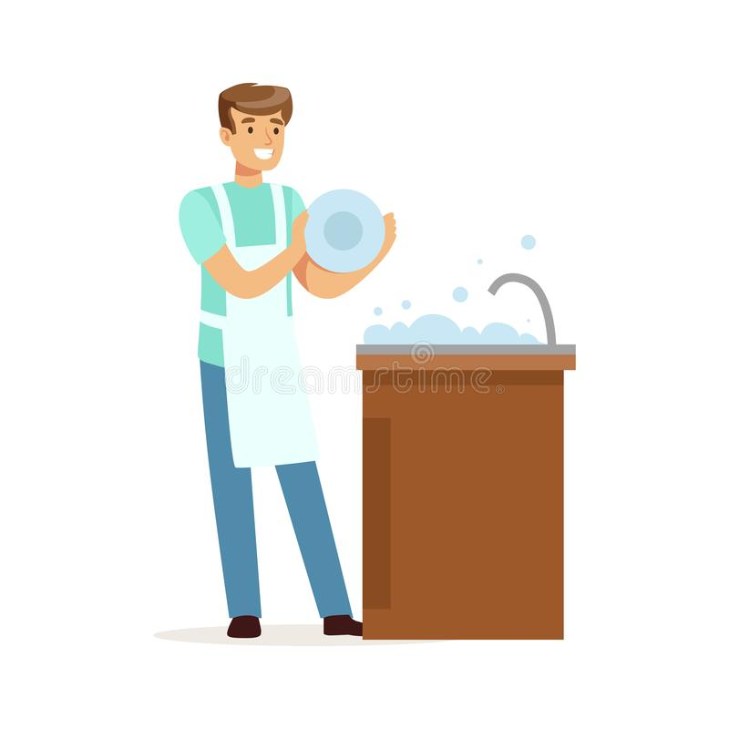 Junge lächelnde waschende Teller des Mannes in der Küche, Hausmann, der zu Hause Vektor Illustration bearbeitet lizenzfreie abbildung