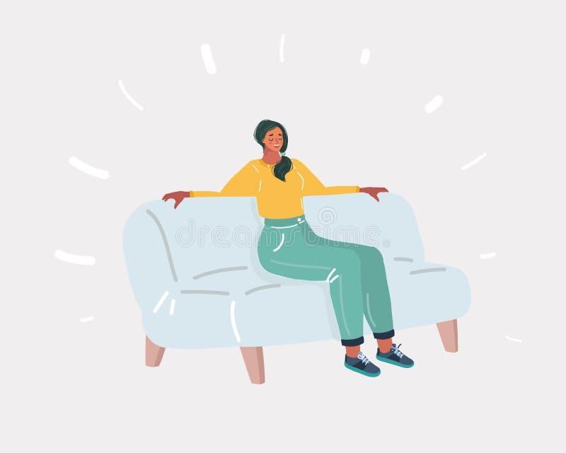 Junge l?chelnde Frau, die auf Sofa sitzt lizenzfreie abbildung