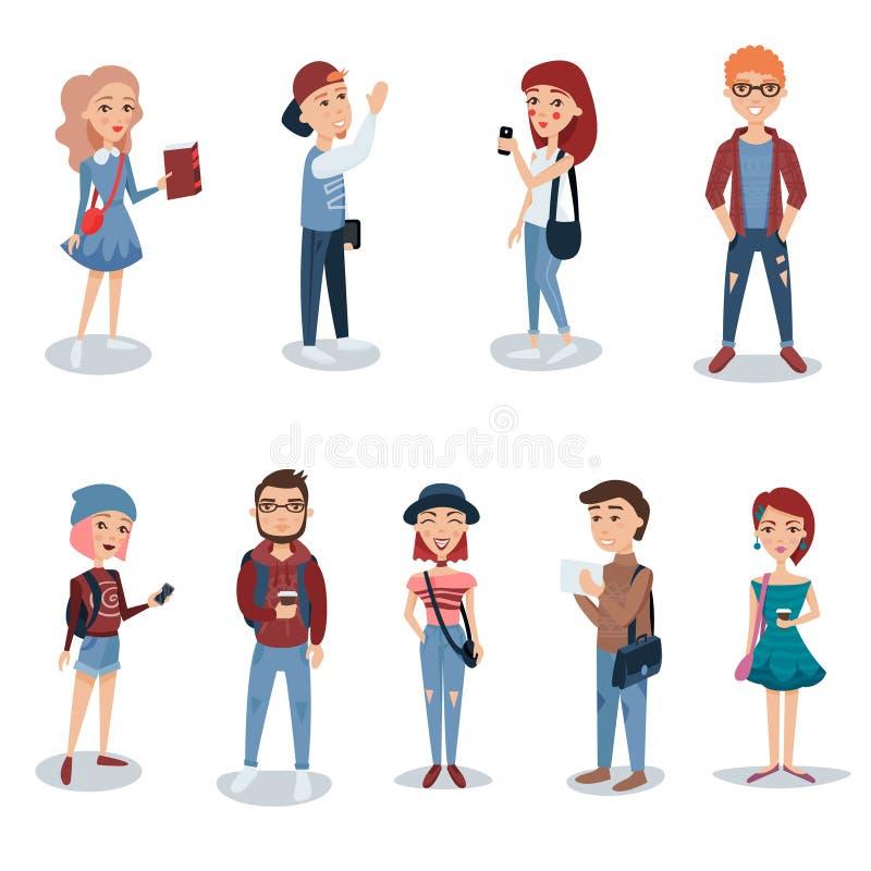Junge Leute in der zufälligen Kleidung, die gesetzt steht Studenten mit Buch-, Telefon- und Rucksackcharakteren vector Illustrati lizenzfreie abbildung