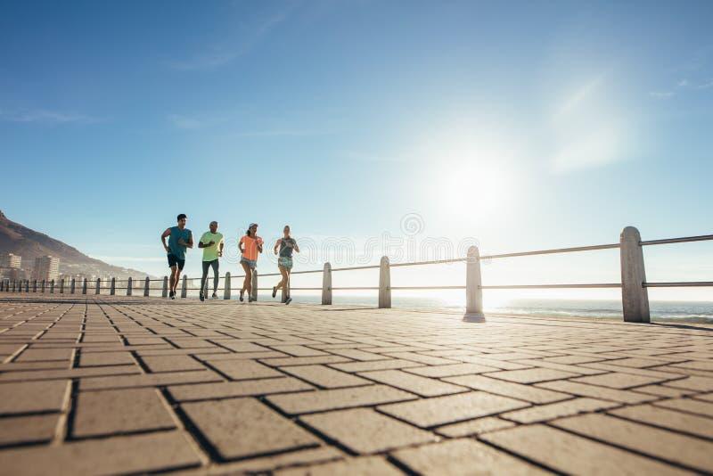 Junge Leute, die auf Ozeanwasserfront laufen stockfotos