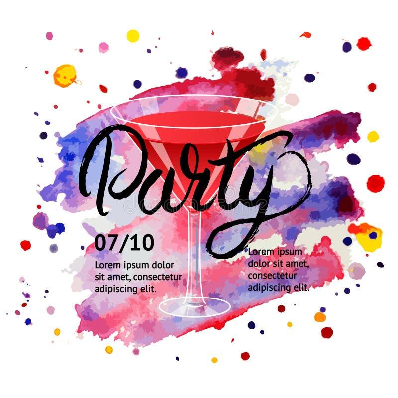Junge Leute, die Spaß haben Martini, Cocktail Hand geschrieben, Plakat beschriftend lizenzfreie abbildung