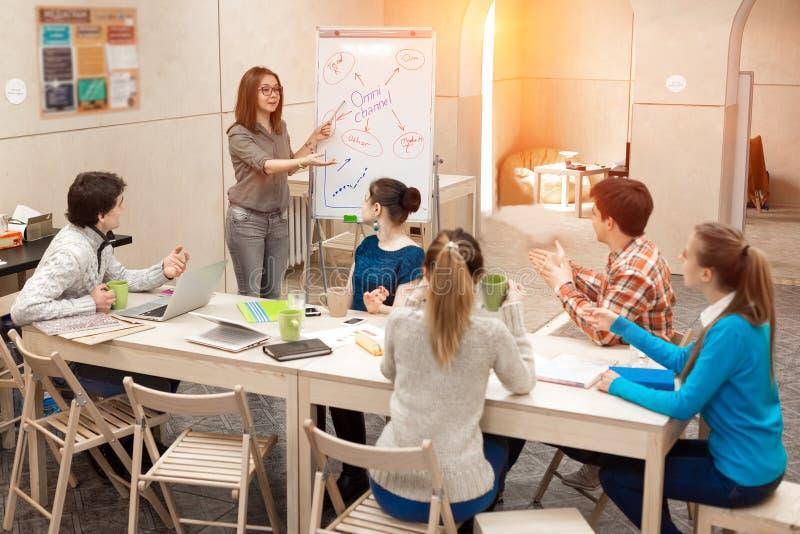 Junge Leute-hörende Darstellung des weiblichen Managers stockfotos