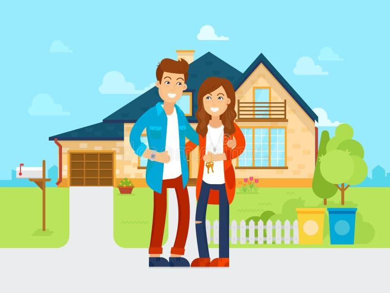 Junge Leute kauften den Vektor des neuen Hauses flache Illustration Glückliche Familie bewegt sich in neues Haus Zeichentrickfilm stock abbildung