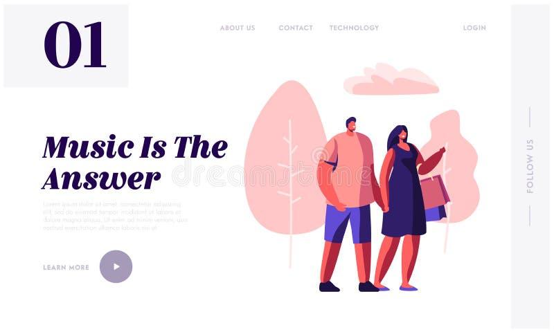 Junge liebevolle Paare, die in Stadt-Park-Händchenhalten, Frau Carry Shopping Bags gehen Sommerzeit-Freizeit, datierend, musikali vektor abbildung