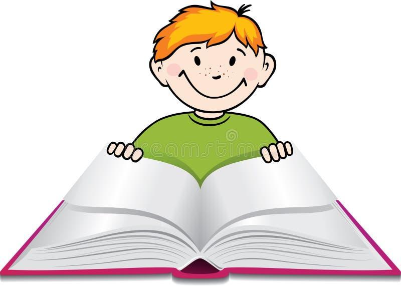 Junge liest ein Buch. vektor abbildung