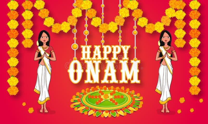 Junge Mädchen, die glückliches Onam feiern stock abbildung