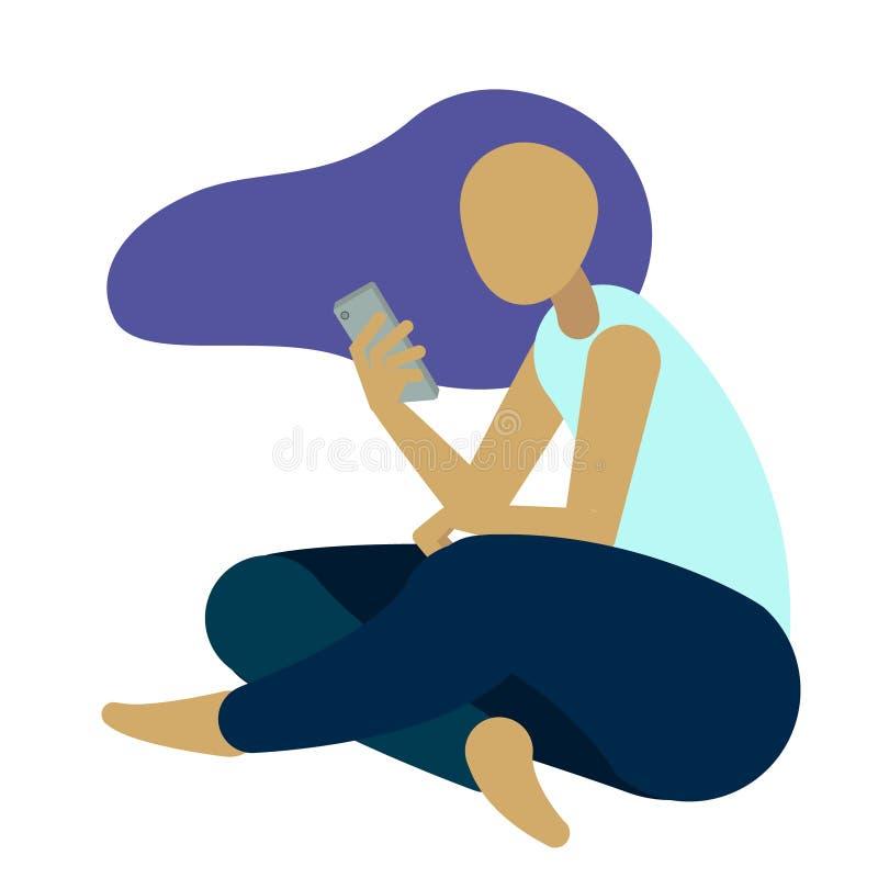 Junge Mädchen unter Verwendung des Telefons, sitzende Beine gekreuzt vektor abbildung